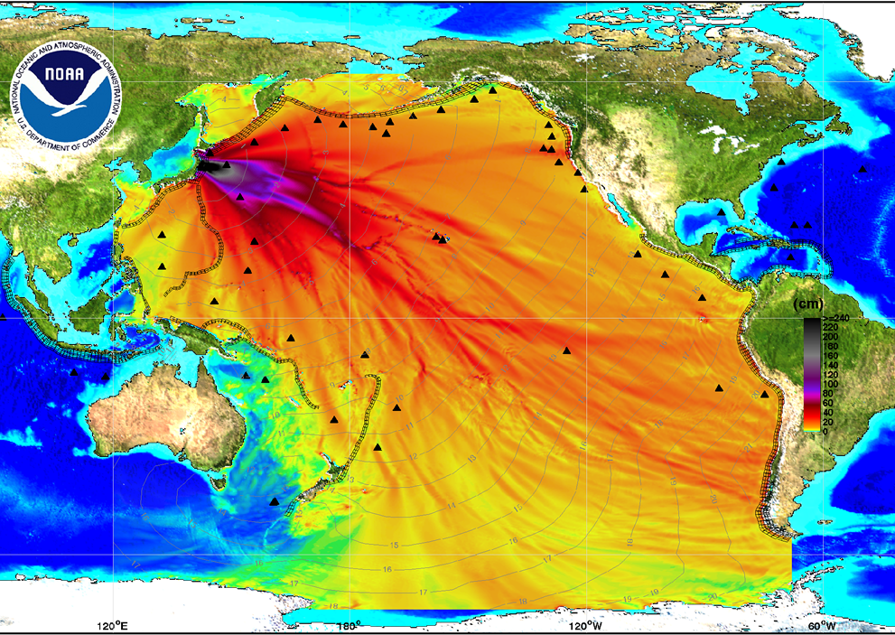 2011 NOAA Tsunami Model Output Map