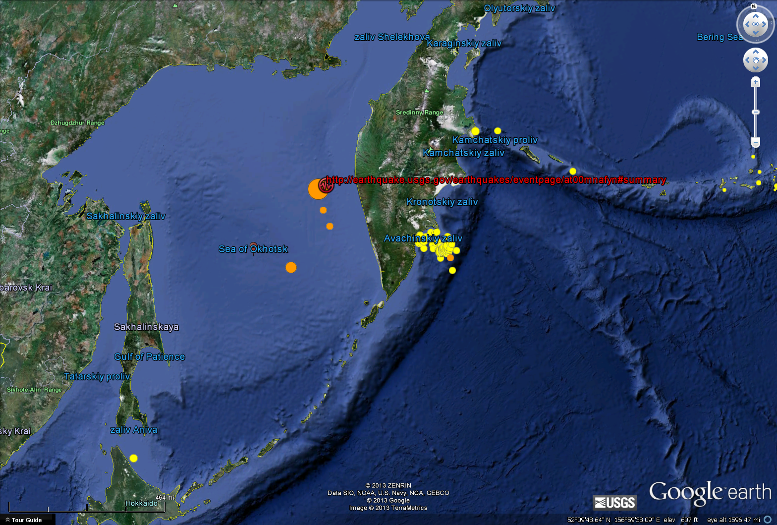 M8.3 earthquake map