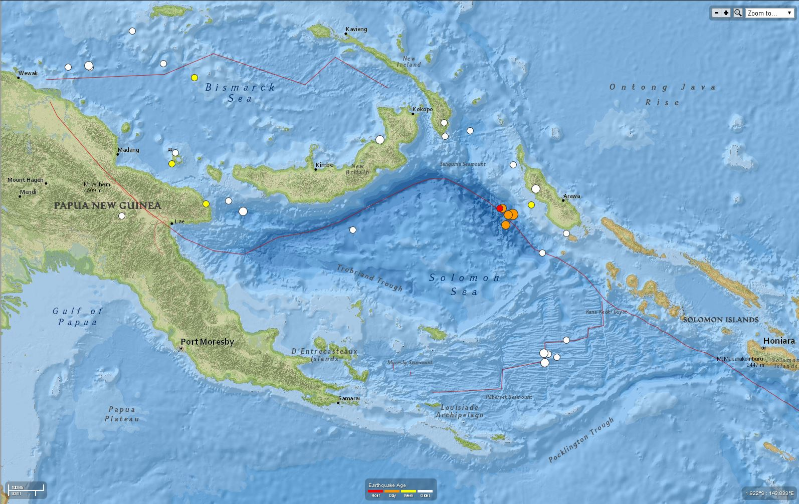 Earthquake along the New Britain trench Solomon Isles and Papua New