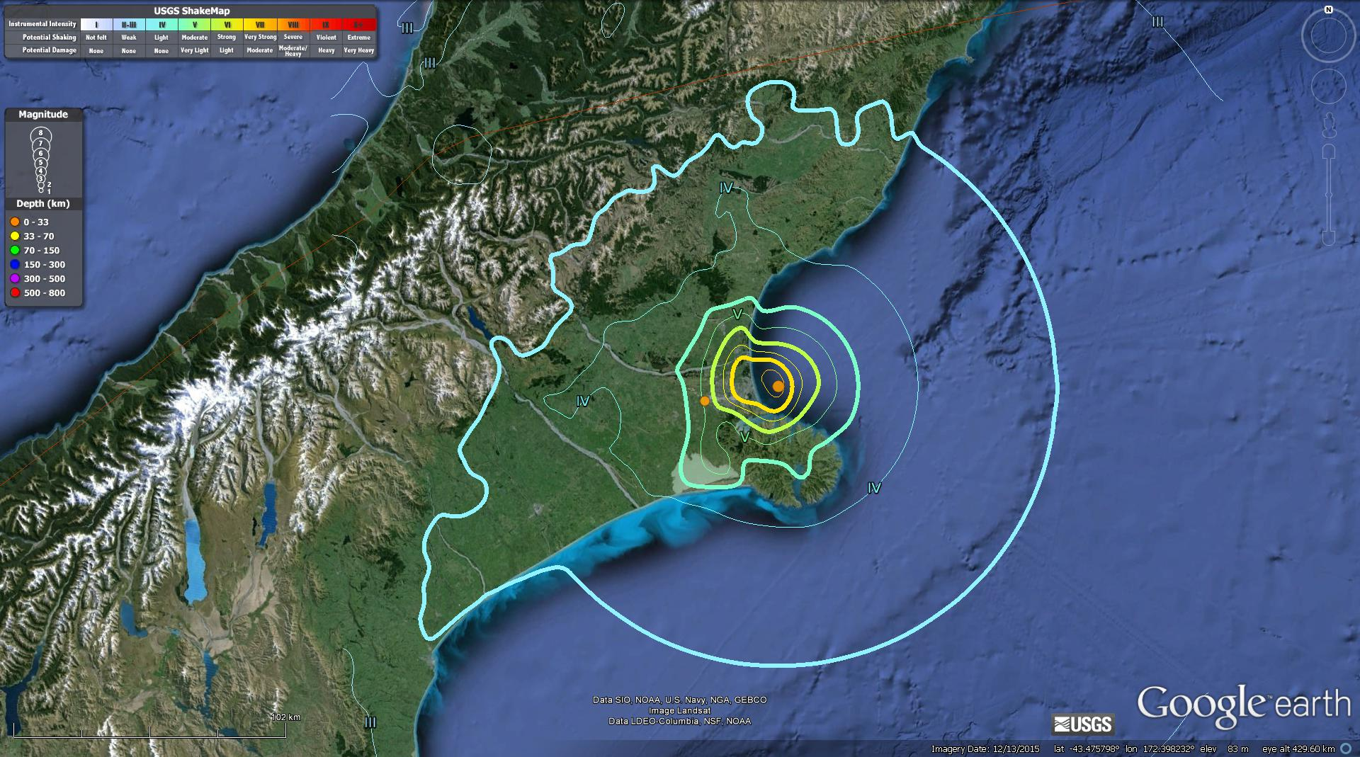 Here Is A Map That Shows The Modified Mercalli Intensity Mmi Contours For This Earthquake The Mmi Is A Qualitative Measure Of Shaking Intensity
