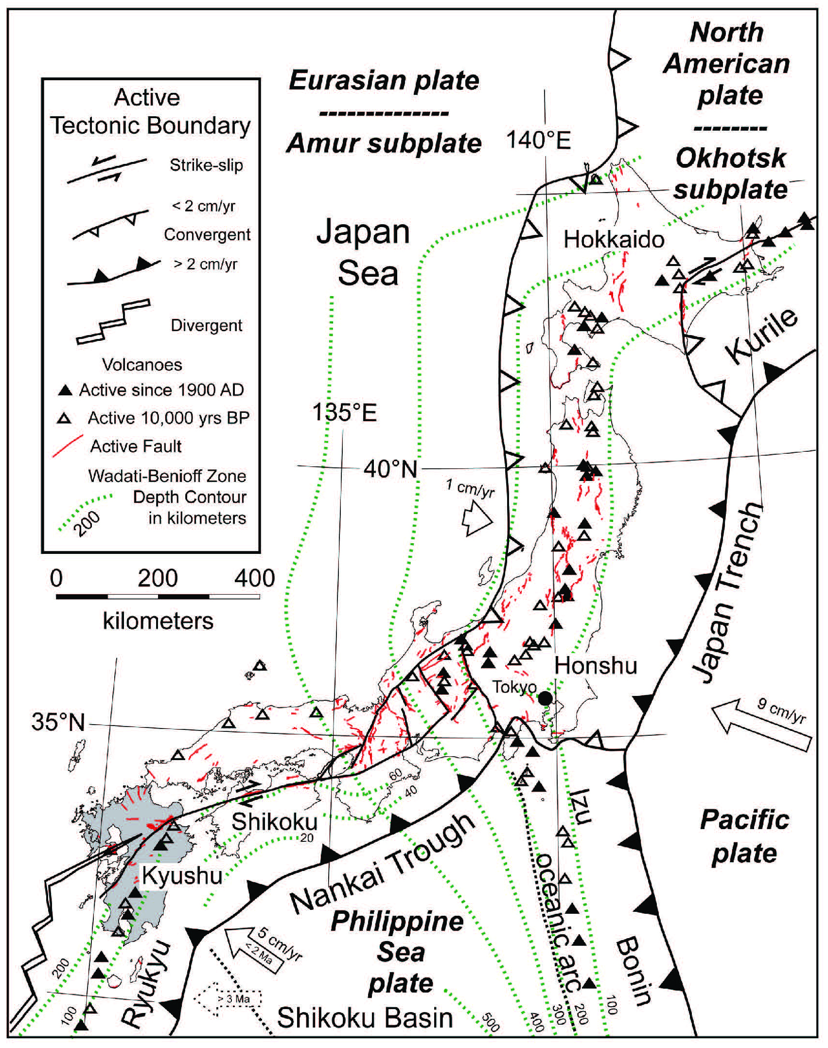 earthquake report hokkaido japan jay patton online World Map with Countries China Japan Korea and South Name tectonic setting of kyushu within the japanese island arc the locations of active faults and volcanoes that have been active in the last 10 000 years are