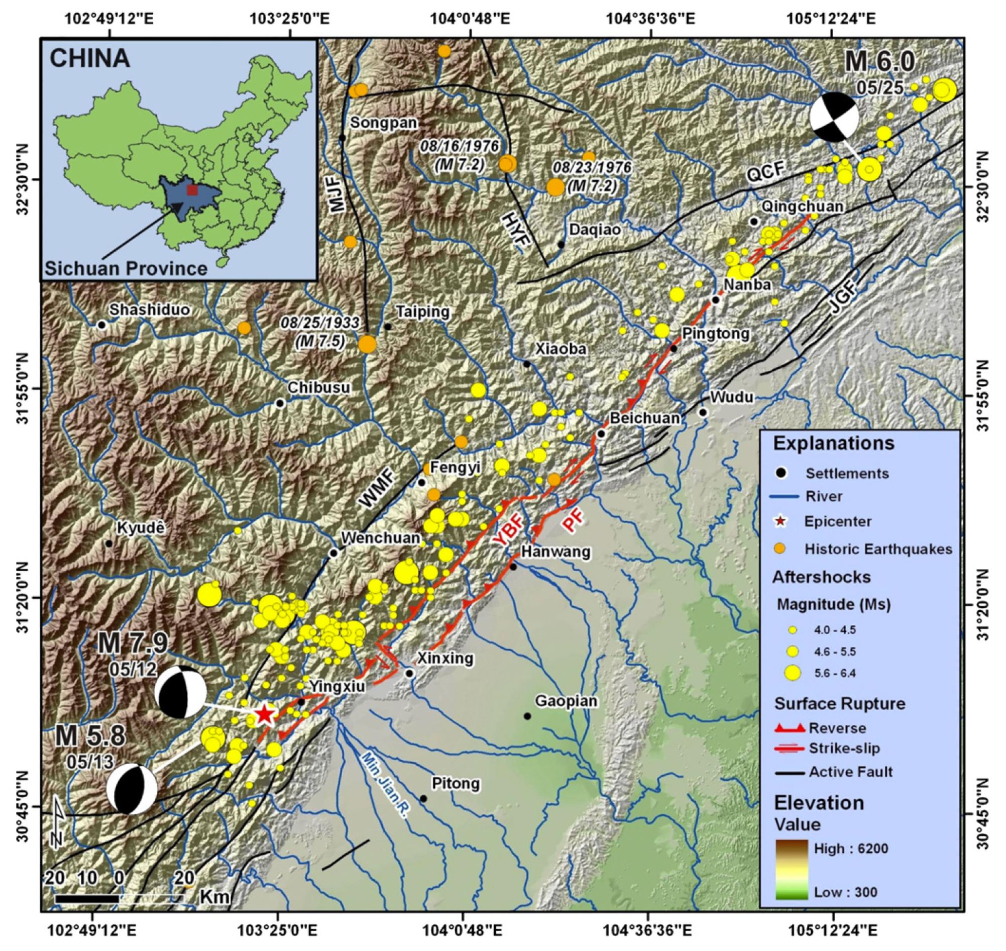 location and 12may 2008wenchuan earthquake fault surface rupturemap and focalmechanisms of the main earthquake 12may and two of the major aftershocks 13