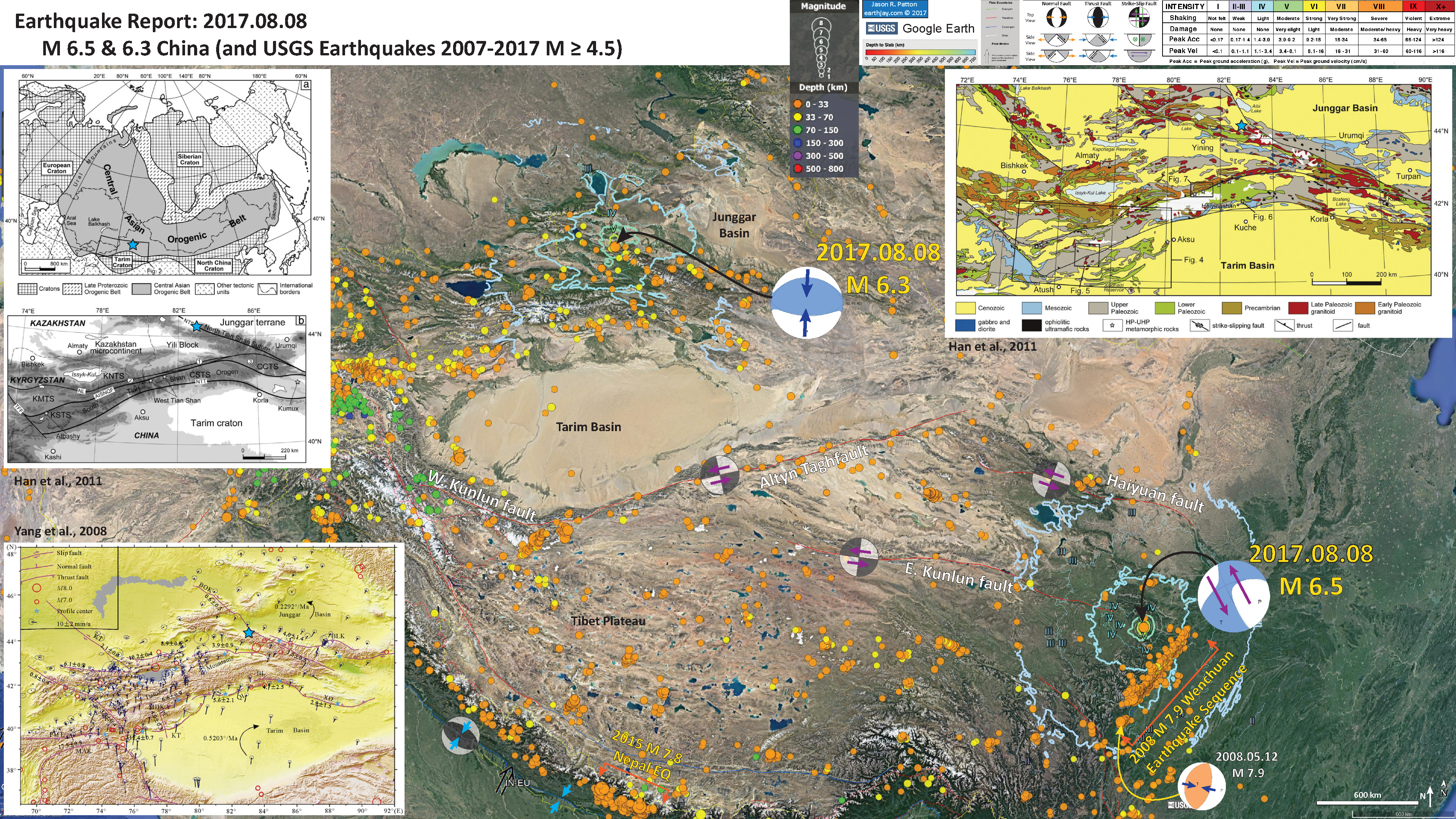 todays earthquake appears associated with the northern tianshan marginal fault a thrust fault that crosses the tainshan mountains see li et al 2016 map