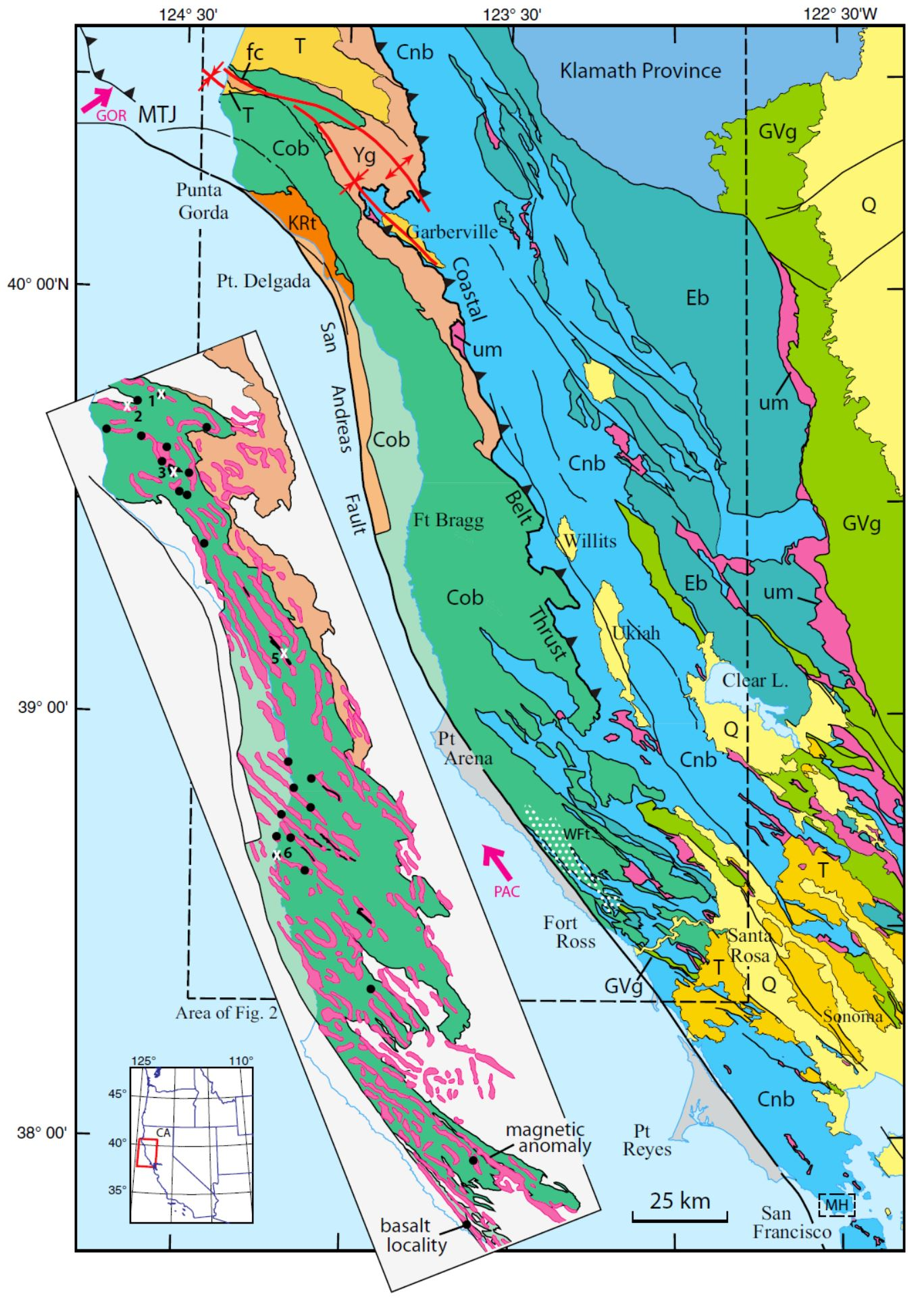 map showing location and geologic setting of the franciscan coastal belt in the northern california coast ranges inset shows magnetic anomalies in