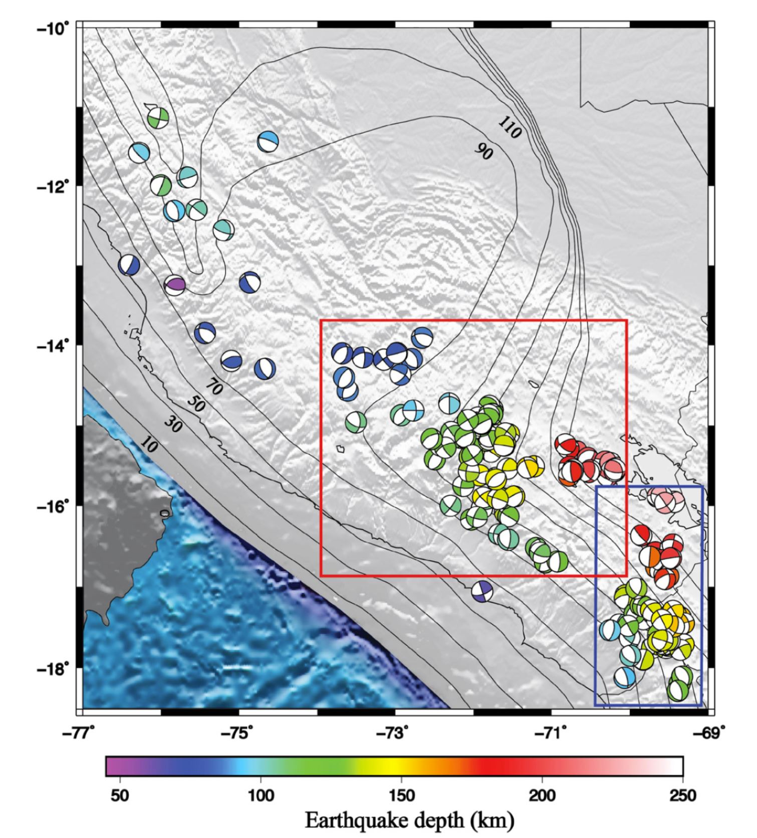 map of first motion focal mechanisms plotted in lower hemisphere projec tion mechanisms are color coded by earthquake depth and mainly show normal faulting