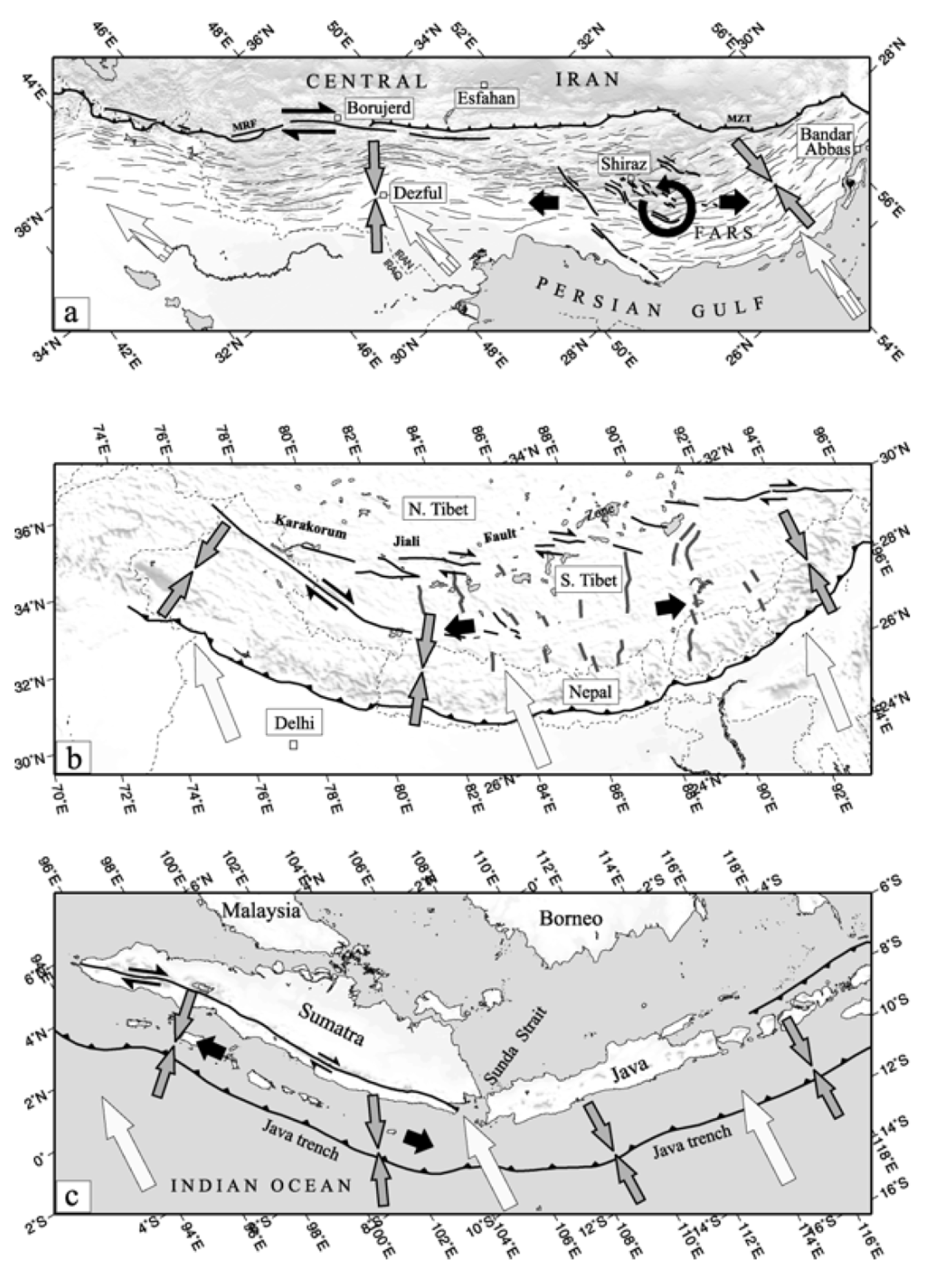 earthjay science course material and educational resources  a summary sketch of the tectonic pattern in the zagros overall arabia eurasia motions are shown by the big white arrows as before